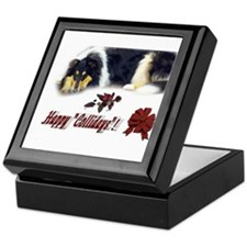 Rough Collie Christmas Keepsake Box