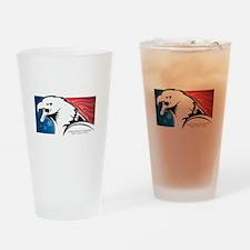 Cesar Chavez - American Eagle Logo Drinking Glass