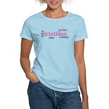 Triathlon Text - Pink T-Shirt