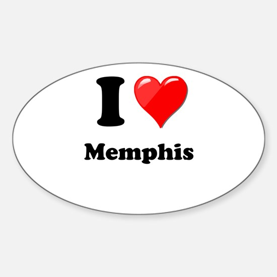 I Heart Love Memphis.png Sticker (Oval)