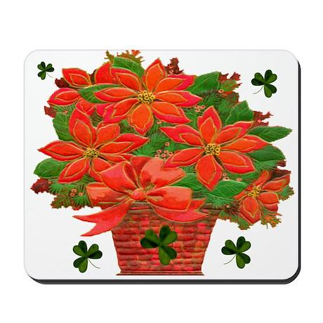Poinsettia Shamrock Basket Mousepad