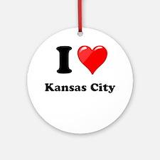 I Heart Love Kansas City.png Ornament (Round)