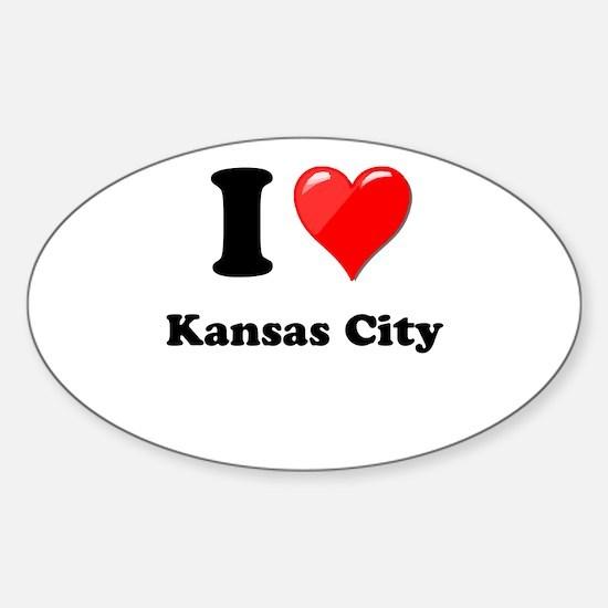 I Heart Love Kansas City.png Sticker (Oval)