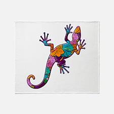 Hibiscus Lizard Throw Blanket