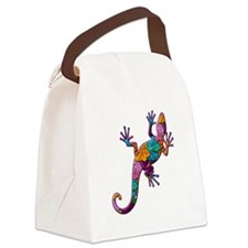 Hibiscus Lizard Canvas Lunch Bag