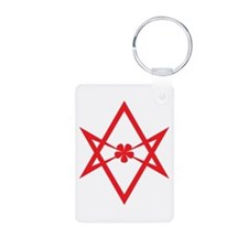 Unicursal hexagram (Red) Keychains