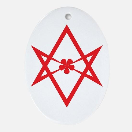 Unicursal hexagram (Red) Ornament (Oval)