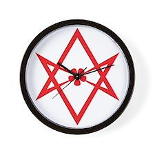 Unicursal hexagram (Red) Wall Clock