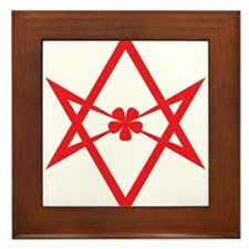 Unicursal hexagram (Red) Framed Tile