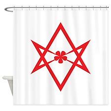 Unicursal hexagram (Red) Shower Curtain