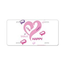 HIA Happy Heart design Aluminum License Plate