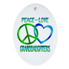Peace Love Granddaughters Ornament (Oval)