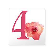 "Floral 4th Birthday Square Sticker 3"" x 3"""
