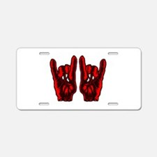 Metal Hands (Malocchio) Red Aluminum License Plate