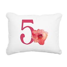 Floral 5th Birthday Rectangular Canvas Pillow