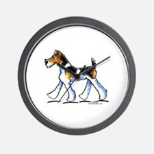 Wire Fox Terrier Trot Wall Clock