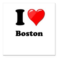 "I Heart Love Boston.png Square Car Magnet 3"" x 3"""