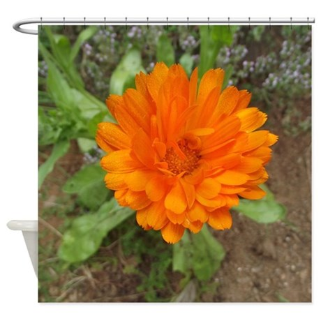 Orange Flower Shower Curtain By MirandaLemkePhotography