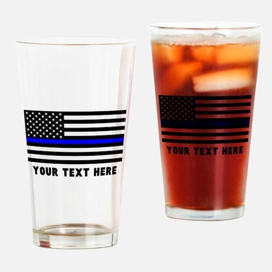 Thin Blue Line Flag Drinking Glass