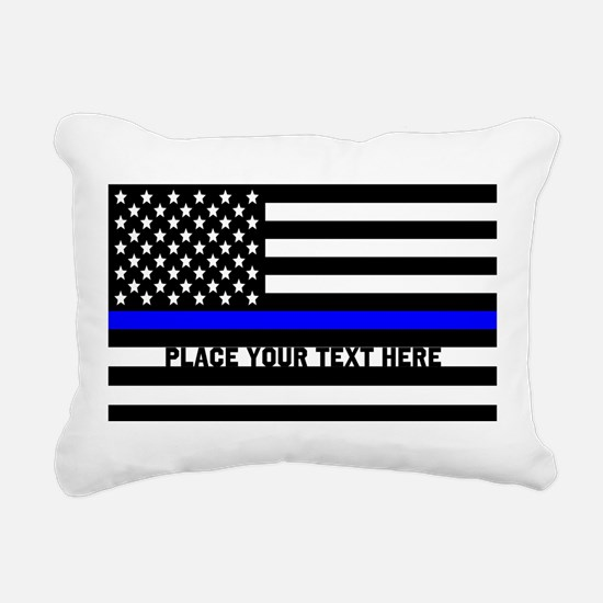 Thin Blue Line Flag Rectangular Canvas Pillow