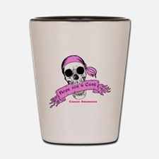 Hope For a Cure Skull Scroll Pink Shot Glass