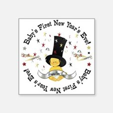 """Baby's 1st New Year Square Sticker 3"""" x 3"""""""