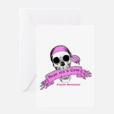 Hope For a Cure Skull Scroll Pink Greeting Card