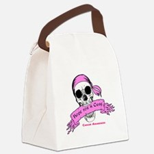 Hope For a Cure Skull Scroll Pink Canvas Lunch Bag