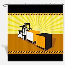 Forklift Truck Materials Handling Retro Shower Cur