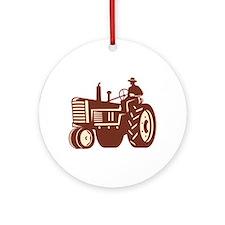 Farmer Driving Vintage Tractor Retro Ornament (Rou