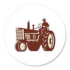 Farmer Driving Vintage Tractor Retro Round Car Mag