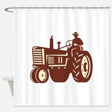Farmer Driving Vintage Tractor Retro Shower Curtai