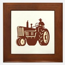 Farmer Driving Vintage Tractor Retro Framed Tile