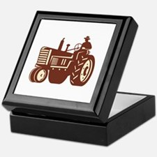 Farmer Driving Vintage Tractor Retro Keepsake Box