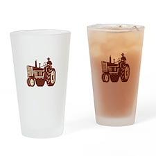 Farmer Driving Vintage Tractor Retro Drinking Glas