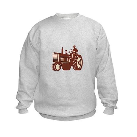 Farmer Driving Vintage Tractor Retro Kids Sweatshi