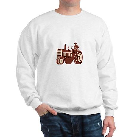Farmer Driving Vintage Tractor Retro Sweatshirt