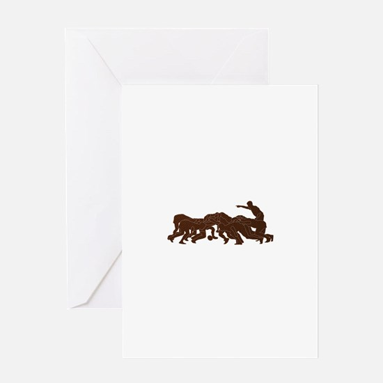 rugby player scrum metal texture Greeting Card