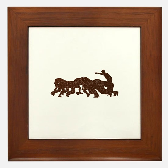 rugby player scrum metal texture Framed Tile