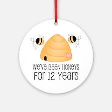 12th Anniversary Honey Ornament (Round)