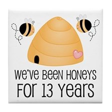 13th Anniversary Honey Tile Coaster