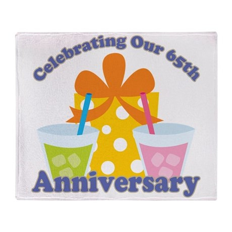 65th Anniversary Party Gift Throw Blanket by anniversarytshirts2