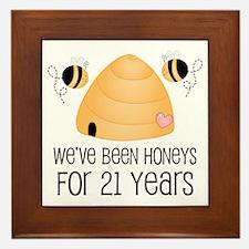 21st Anniversary Honey Framed Tile