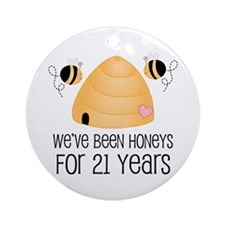 21st Anniversary Honey Ornament (Round)