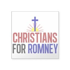 "Christians for Romney Square Sticker 3"" x 3"""