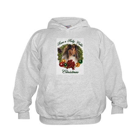 Holly Collie Christmas Kids Hoodie