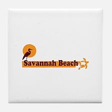 Savannah Beach GA - Beach Design. Tile Coaster