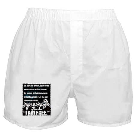 Conformity: I am Free. (No Flag, Blue) Boxer Short