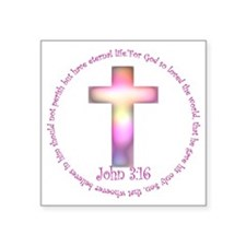 "John 3:16 Square Sticker 3"" x 3"""