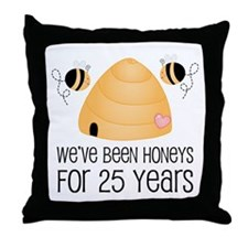 25th Anniversary Honey Throw Pillow
